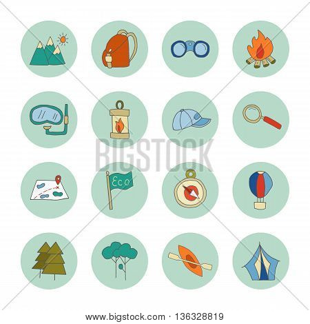 Set of ecotourism icons isolated on a white background. Doodle eco green environmental nature concept. Hand drawn eco tourism vector illustration in flat style. Modern design style symbol collection.