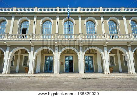facade of museum in Zakynthos City Greece