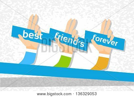 Hand Group Best Friends Forever Friendship Day Banner Flat Vector Illustration