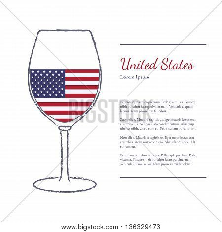 Rough brush stroked wine glass with National flag of USA top wine making country. Graphic design elements isolated on white background. Template with place for your text. Vector illustration.