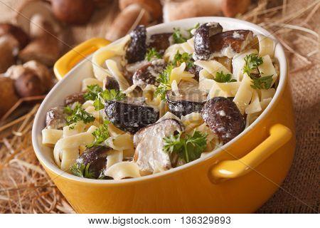 Pasta Fettuccine With Wild Mushrooms In Cream Sauce Closeup In A Pot. Horizontal