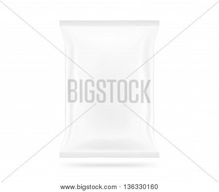 Blank white snack bag mock up isolated 3d illustration. Clear white chips pack mockup. Cookie candy sugar cracker nuts jujube supermarket foil plastic container ready for logo design or identity presentation.