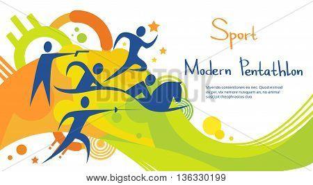 Pentathlon Athlete Sport Game Competition Colorful Banner Flat Vector Illustration