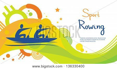 Rowing Athlete Sport Competition Colorful Banner Flat Vector Illustration