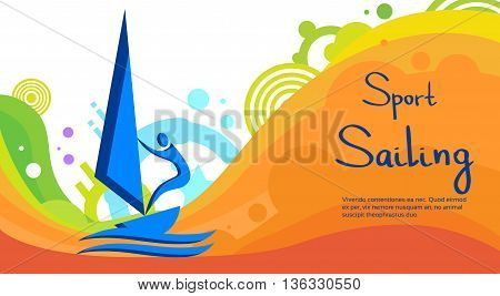 Sailing Athlete Sport Game Competition Flat Vector Illustration