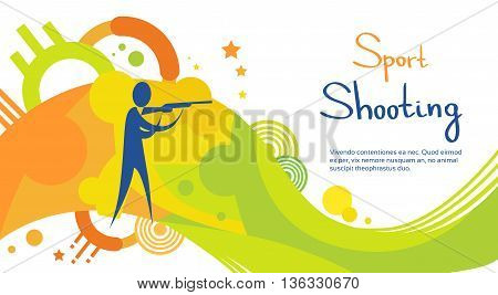 Shooting Athlete Sport Game Competition Flat Vector Illustration