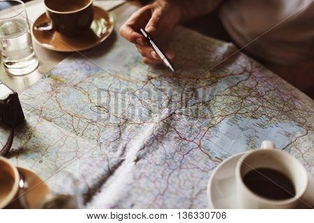 Map Planning Traveling Destination Vacation Concept
