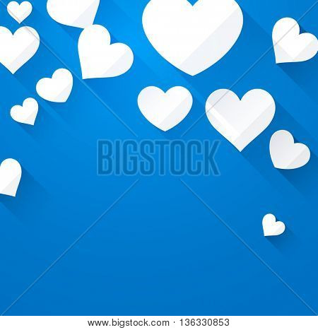 Valentine blue background with white hearts. Vector paper illustration.