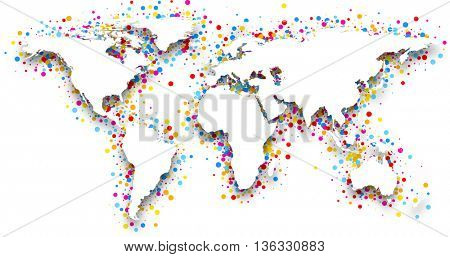 3d world map with color confetti. Vector paper illustration.