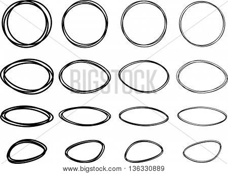 Black oval and round pictured frames set. Vector paper illustration.