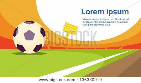 Football Ball At Field Stadium Banner With Copy Space Flat Vector Illustration