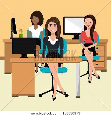 businesswomen in workspace isolated icon design, vector illustration  graphic