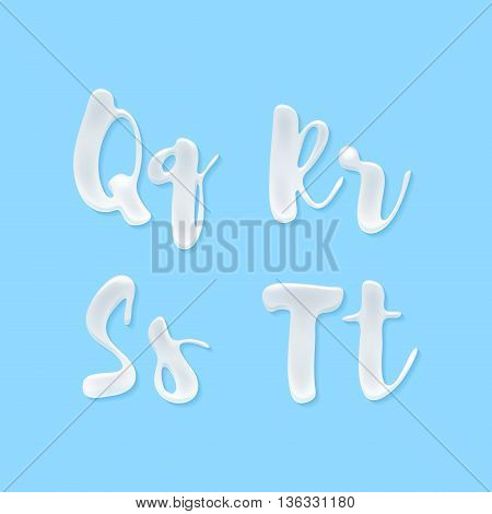 Milk, yogurt or cream abc letters set. White smudges splashes alphabet on blue background vector illustration. Good for poster banner advertising packaging design.