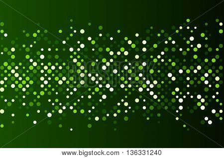 Green abstract background with dots. Vector paper illustration.