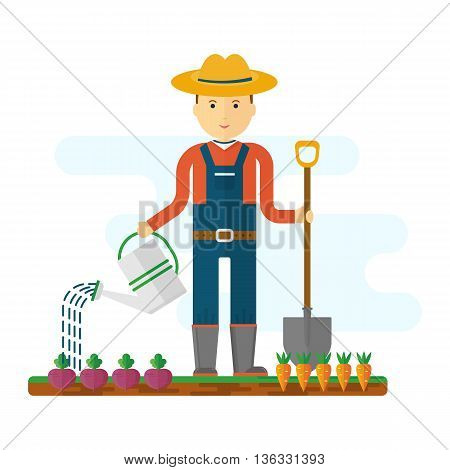 Farmer at work in the field. The beds with vegetables garden equipment tools and fresh vegetables. Objects isolated on background. Flat and cartoon vector illustration.