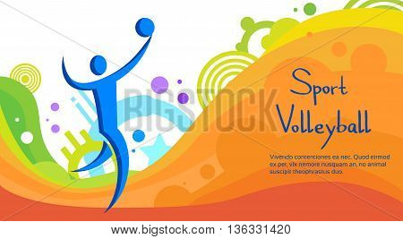Volleyball Athlete Sport Game Competition Flat Vector Illustration