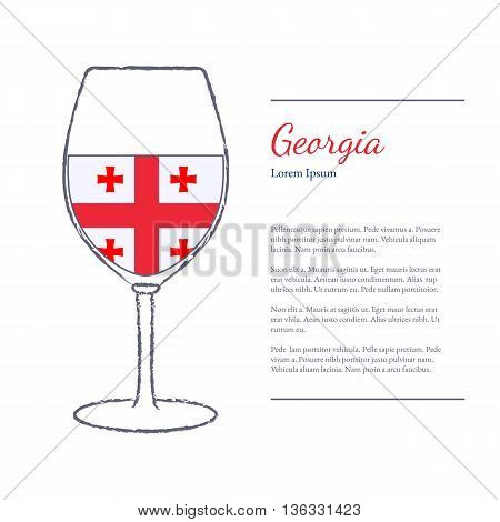 Rough brush stroked wine glass with National flag of Georgia top wine making country. Graphic design elements isolated on white background. Template with place for your text. Vector illustration.