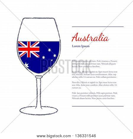 Rough brush stroked wine glass with National flag of Australia top wine making country. Graphic design elements isolated on white background. Template with place for your text. Vector illustration.
