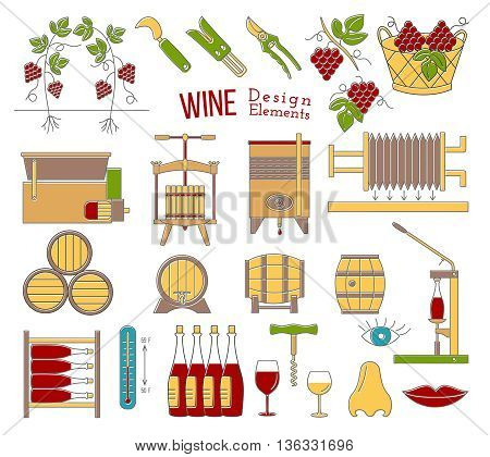 Mega collection of wine making and wine tasting process design elements in modern flat line style isolated on white background. Winery icons Wine logo concept. Colorful vector illustration.