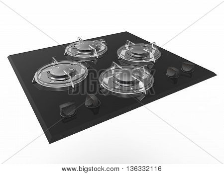 3d illustration of stove. icon for game web. white background isolated.