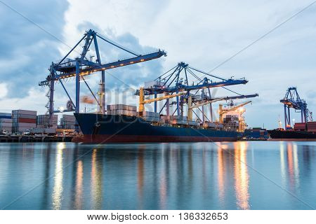 Container Cargo Freight Ship By Crane Bridge