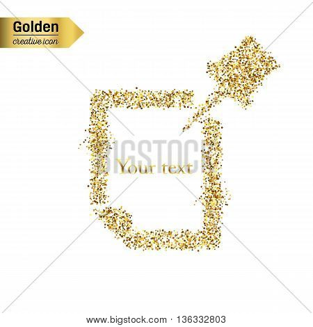 Gold glitter vector icon of Push Pin isolated on background. Art creative concept illustration for web, glow light confetti, bright sequins, sparkle tinsel, abstract bling, shimmer dust, foil.