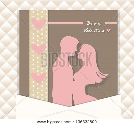 Valentine Day couple greeting card. Vector illustration