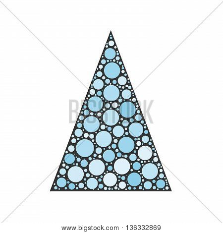 Simple abstract chrismas tree of blue dots, or circles, in a grey triangle shape.