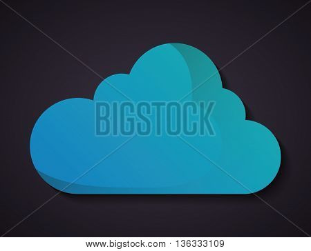 Weather concept represented by blue cloud icon. Colorfull and flat illustration