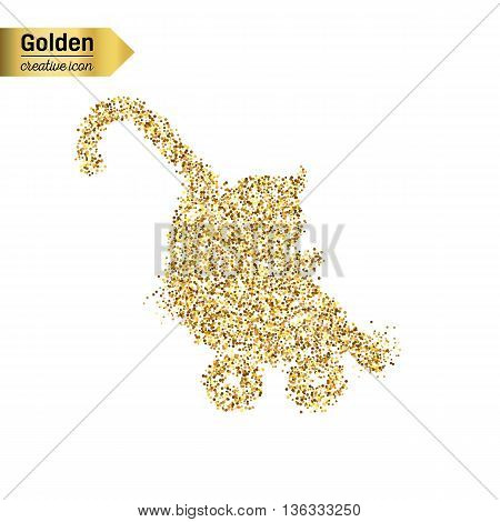 Gold glitter vector icon of stroller isolated on background. Art creative concept illustration for web, glow light confetti, bright sequins, sparkle tinsel, abstract bling, shimmer dust, foil.