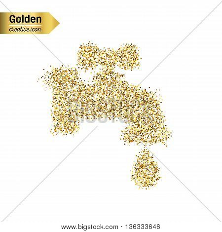 Gold glitter vector icon of faucet isolated on background. Art creative concept illustration for web, glow light confetti, bright sequins, sparkle tinsel, abstract bling, shimmer dust, foil.