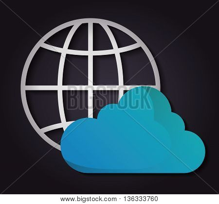 Technology concept represented by cloud computing icon. Colorfull and flat illustration