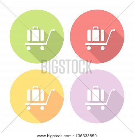 Luggage Trolley Flat Icons Set