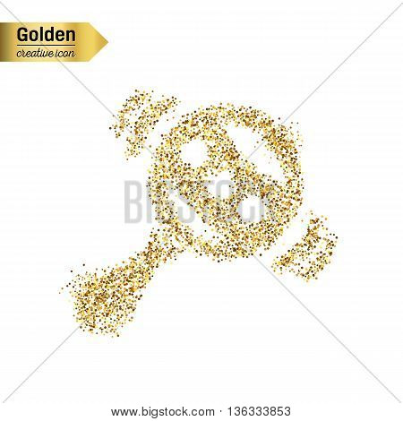 Gold glitter vector icon of rattle isolated on background. Art creative concept illustration for web, glow light confetti, bright sequins, sparkle tinsel, abstract bling, shimmer dust, foil.