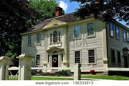 Canterbury Connecticut, USA - July 11 2015:  Georgian 18th century Prudence Crandall House where a school for African-American girls was established in 1833