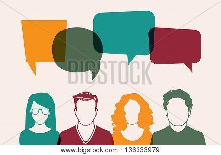 Four people. Men and women avatar profile picture set. Businessman, coworkers, team, think, Question. Idea, Brainstorm. Business concept vector illustration.