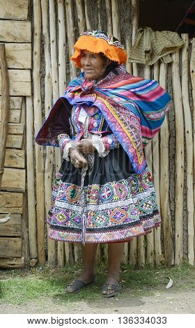 October 22 2012 - Paru Paru Peru: Portrait of a Quechua Indian woman from the Paru Paru Community, Andes Mountains.