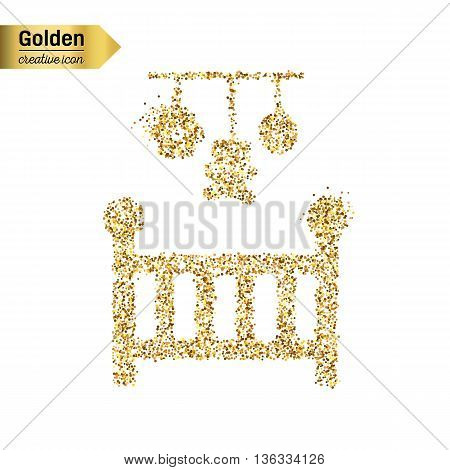 Gold glitter vector icon of baby cot isolated on background. Art creative concept illustration for web, glow light confetti, bright sequins, sparkle tinsel, abstract bling, shimmer dust, foil.