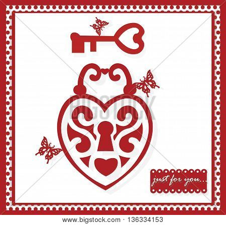 Valentine Day greeting. Love key to my heart and butterflies. Vector