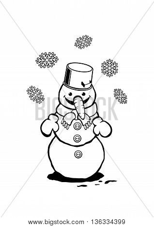 Cute Snowman sketch icon isolated on white background. Coloring book or page illustration. Vector card concept.
