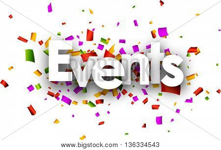White events paper banner with color confetti. Vector illustration.