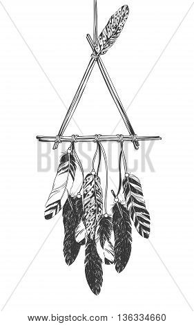Dreamcatcher with feathers. Native American Indian talisman. Vector hand drawn hipster illustration isolated on white background. Boho design, tattoo art, coloring book for adults.