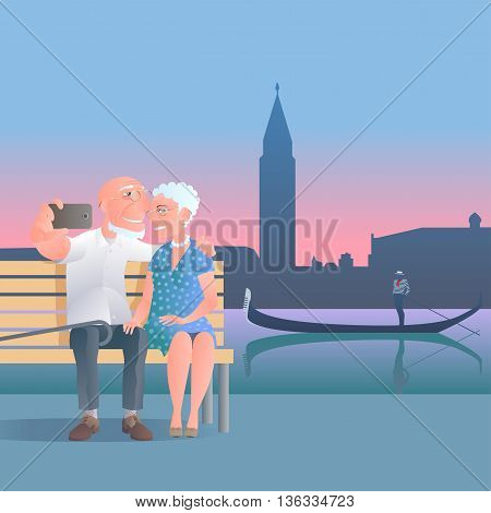 Old people travel to Italy Venice vector illustration. Selfie made by group of old people. Gondola man background