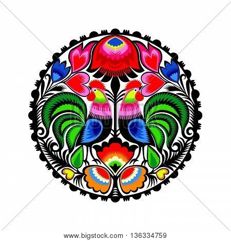 Polish folk pattern, Colourful vector ilustration, isolated on white.
