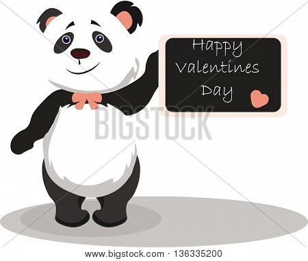 Happy Valentine's Day Card with panda bear. Vector