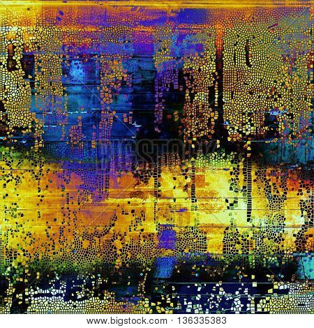Creative vintage grunge texture or ragged old background for art projects. With different color patterns: yellow (beige); green; blue; red (orange); purple (violet); black