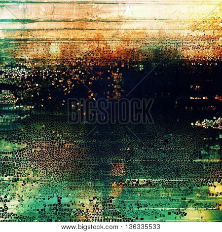 Grunge texture, aged or old style background with retro design elements and different color patterns: yellow (beige); green; blue; red (orange); black; cyan