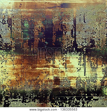 Distressed grunge texture, damaged vintage background with different color patterns: yellow (beige); brown; gray; green; blue; black