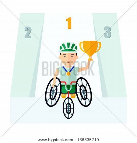 Handicapped Athlete Holding Cup