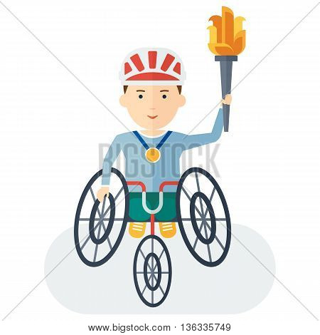 Handicapped Athlete Holding Torch
